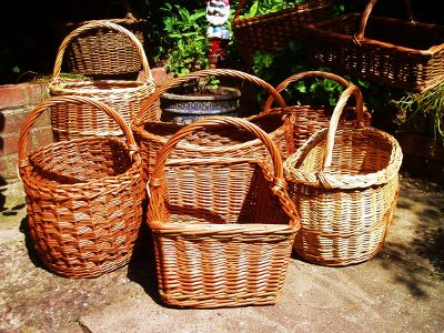 Variety of willow shopping baskets
