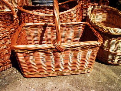 Square randed willow shopping basket