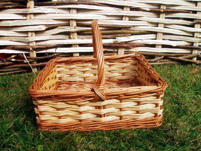 Large square willow shopping basket